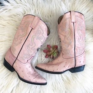 Potrillos Pink Ostrich Leather Cowgirl Boots 5